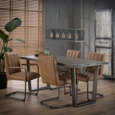 Table à manger contemporaine manguier grisé pieds métal 180x90cm LUCKNOW