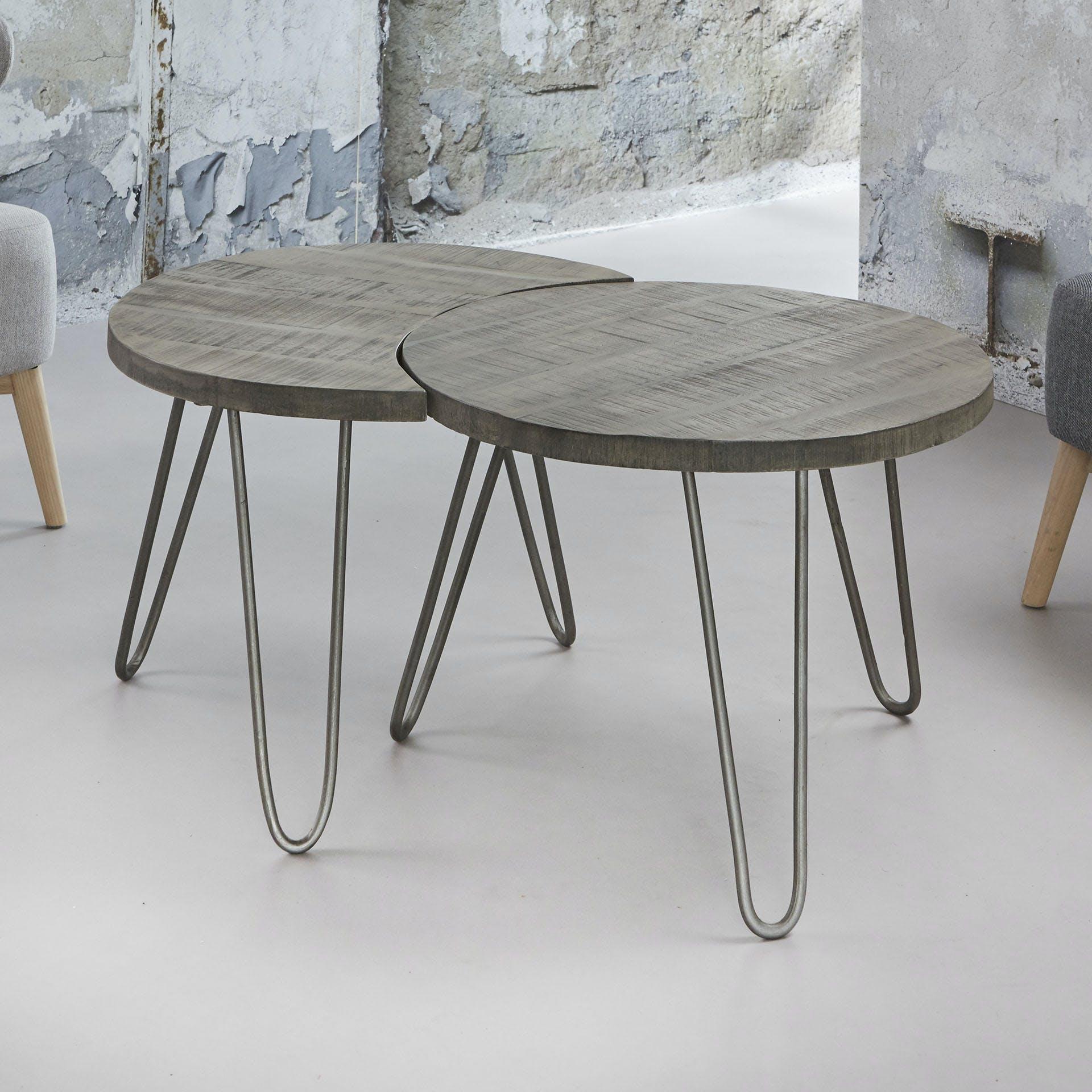 Table gigogne bois de manguier gris LUCKNOW (2 pièces)