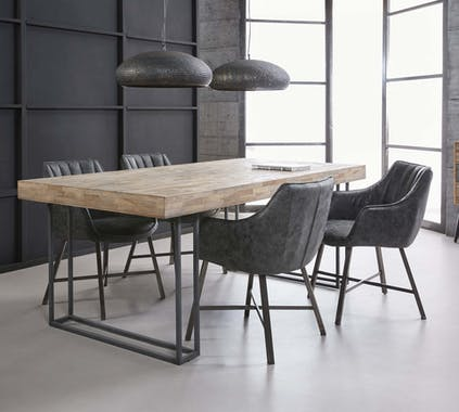 Table à manger teck recyclé métal 200 JAVA