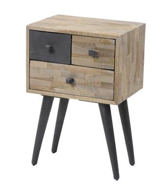 Table de chevet bois de teck recyclé 3 tiroirs JAVA