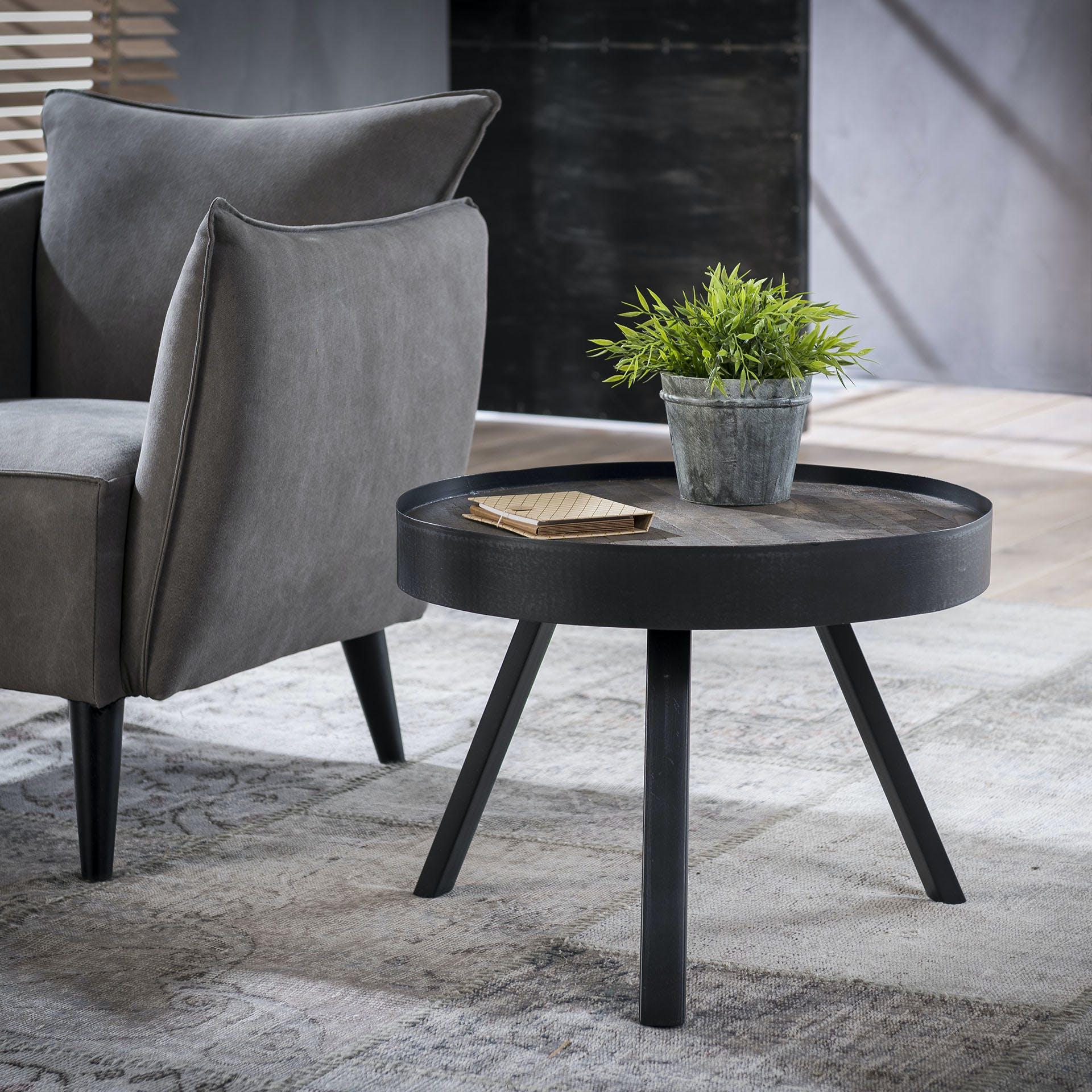Table basse ronde teck métal gris D60 JAVA