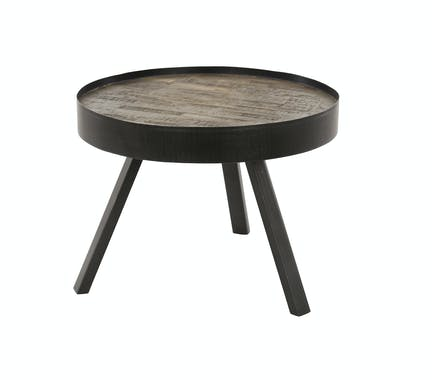 Table basse ronde teck métal gris D60 JAVA