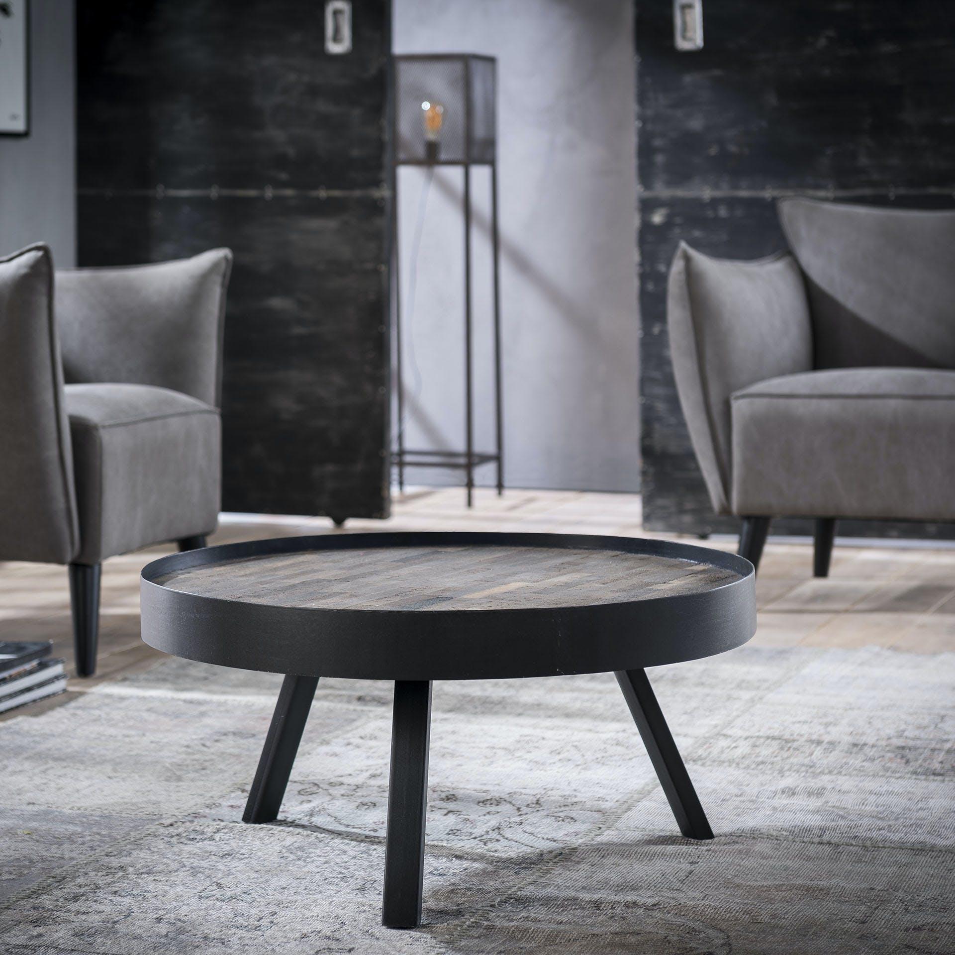 Table basse ronde teck métal gris D75 JAVA