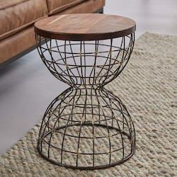 Bout de canapé métal bois forme sablier RALF