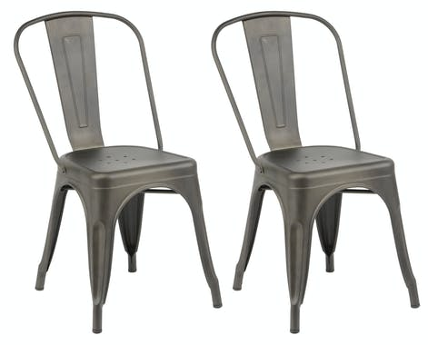 Chaise bistrot métal grisé RALF (lot 2)