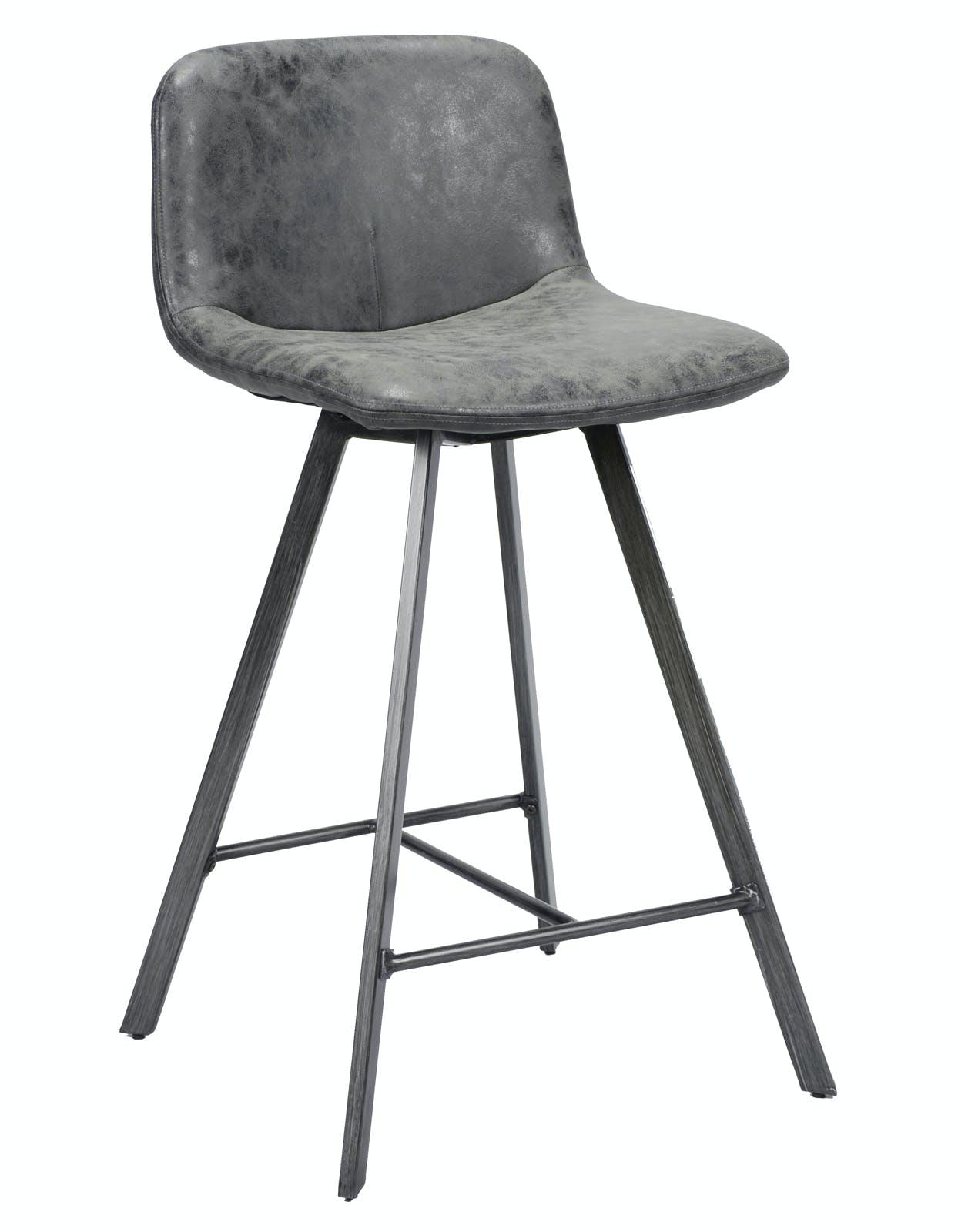 Tabouret de bar noir patiné métal JAVA