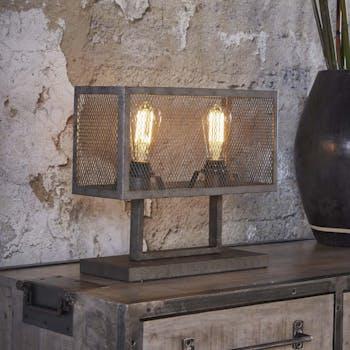 Lampe à poser abat-jour grillagé métal gris 40x15x33cm RALF