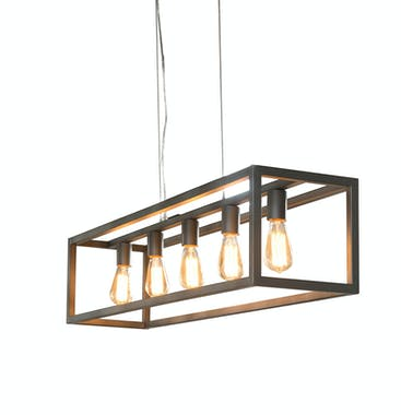 Suspension rectangulaire métal 5 lampes 125x25x150cm RALF