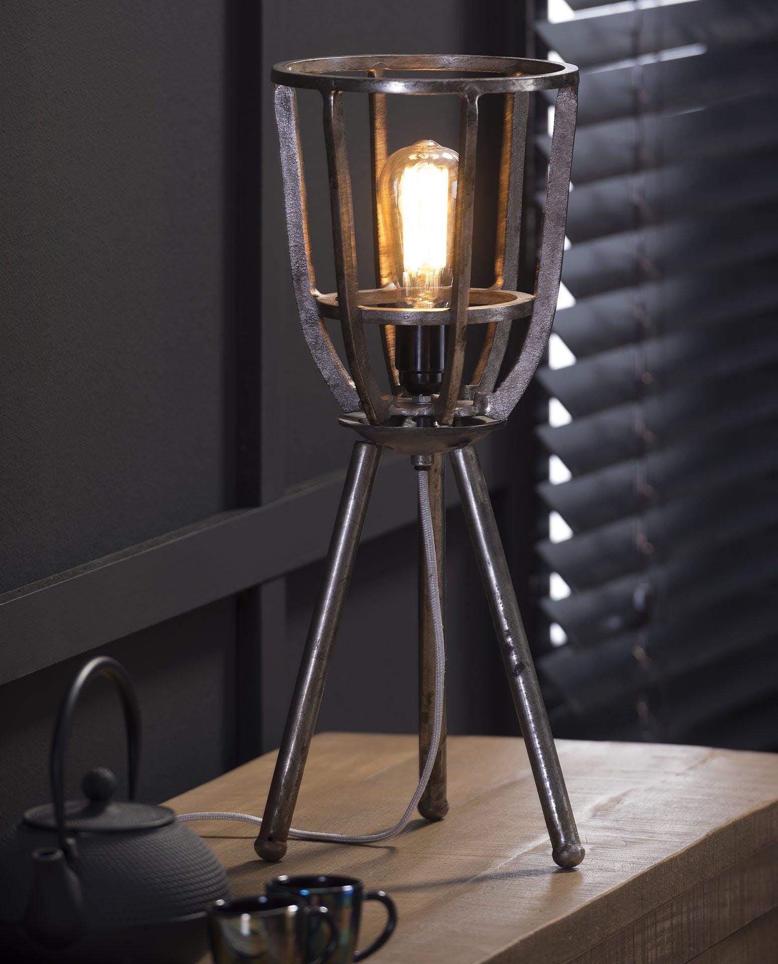 Lampe industrielle à poser style torche sur trépied nickel 51cm RALF