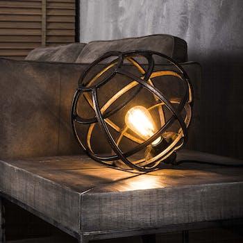 Lampe globe métal cuivré patiné D33cm TRIBECA