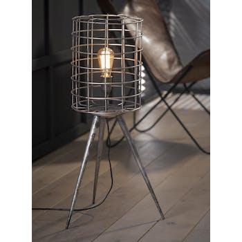 Lampe trépied abat-jour grillage métal argenté 80cm TRIBECA