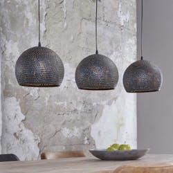 Suspension ajourée 3 demi-globes métal brun/noir grillagé 110x25x150cm RALF