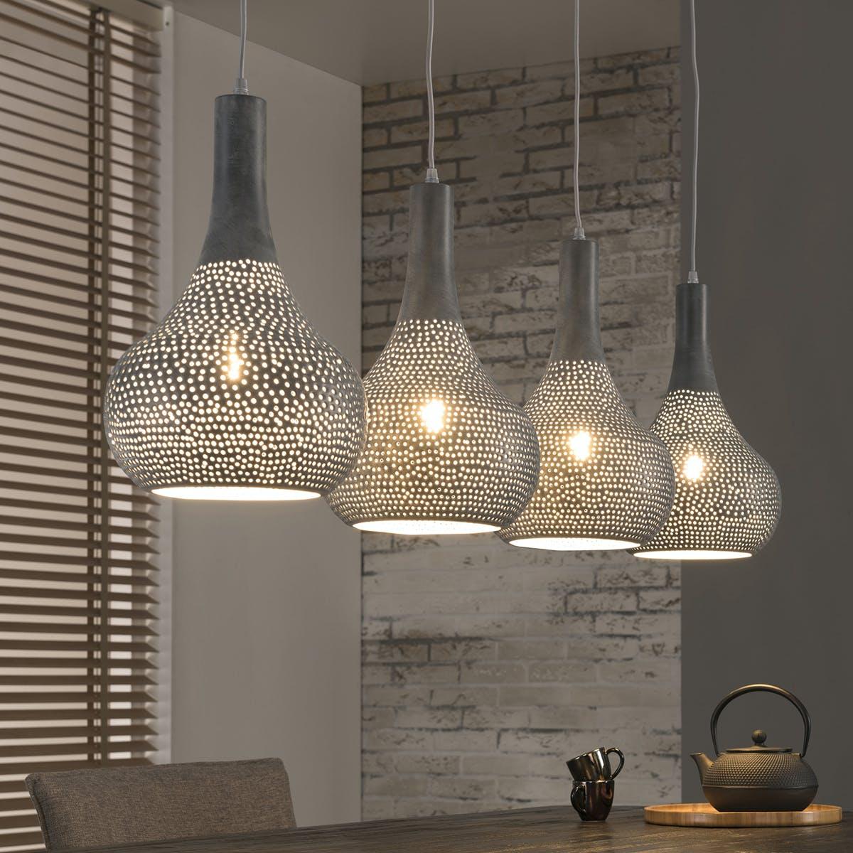 Suspension ajourée 4 lampes cônes métal gris 130x25x150cm JAVA