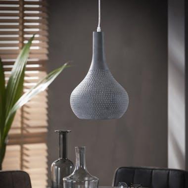 Suspension ajourée lampe cône rond métal gris D25x150cm JAVA