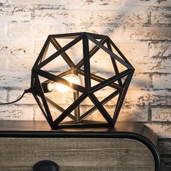 Lampe à poser métal noir forme hexagonale 41cm TRIBECA