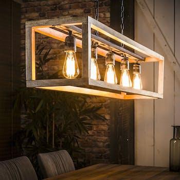 Suspension vintage 5 ampoules caisse rectangulaire manguier 125x25x150cm RALF