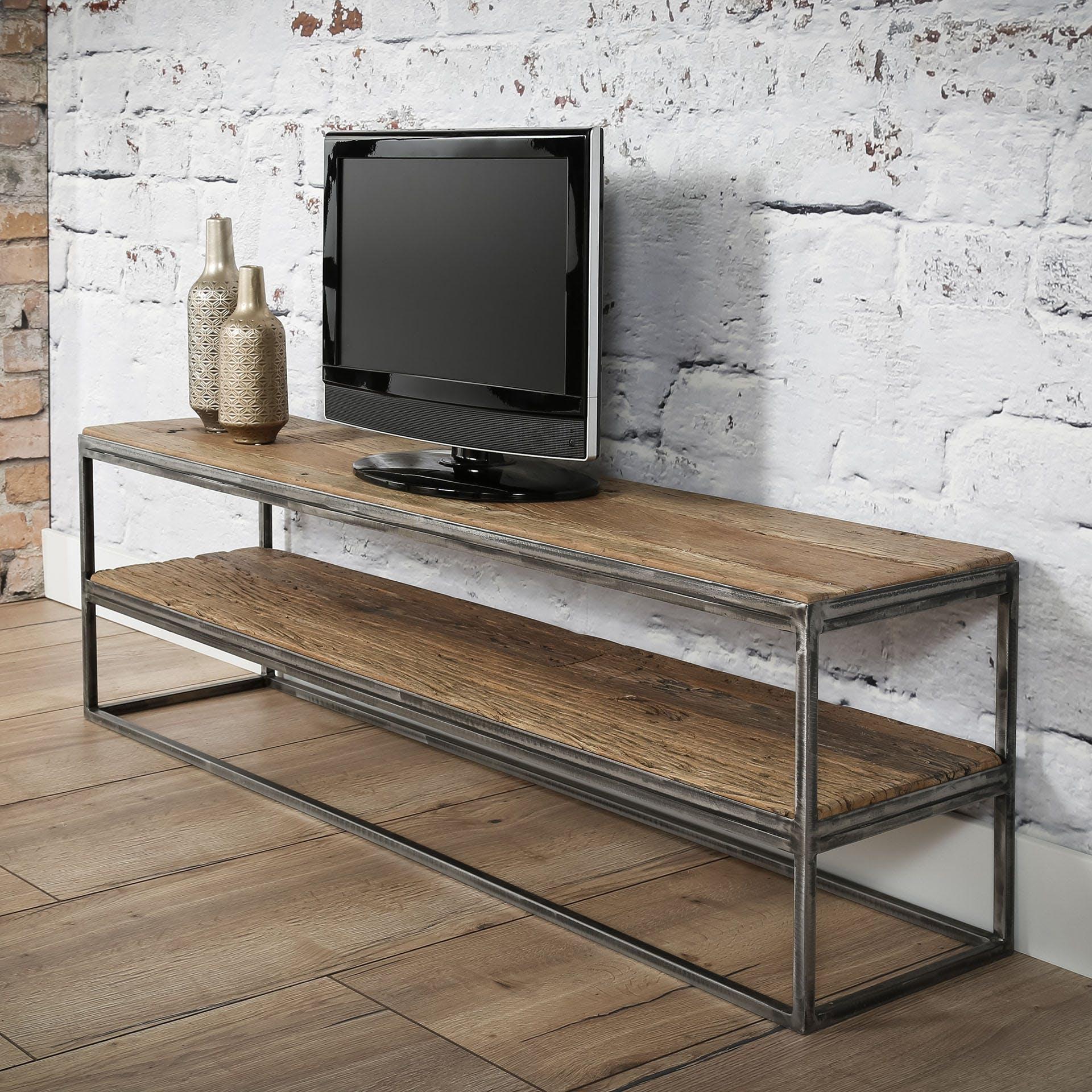 Meuble TV bois brut recyclé métal OMSK