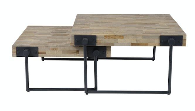 Table basse carrée teck métal petit modèle JAVA