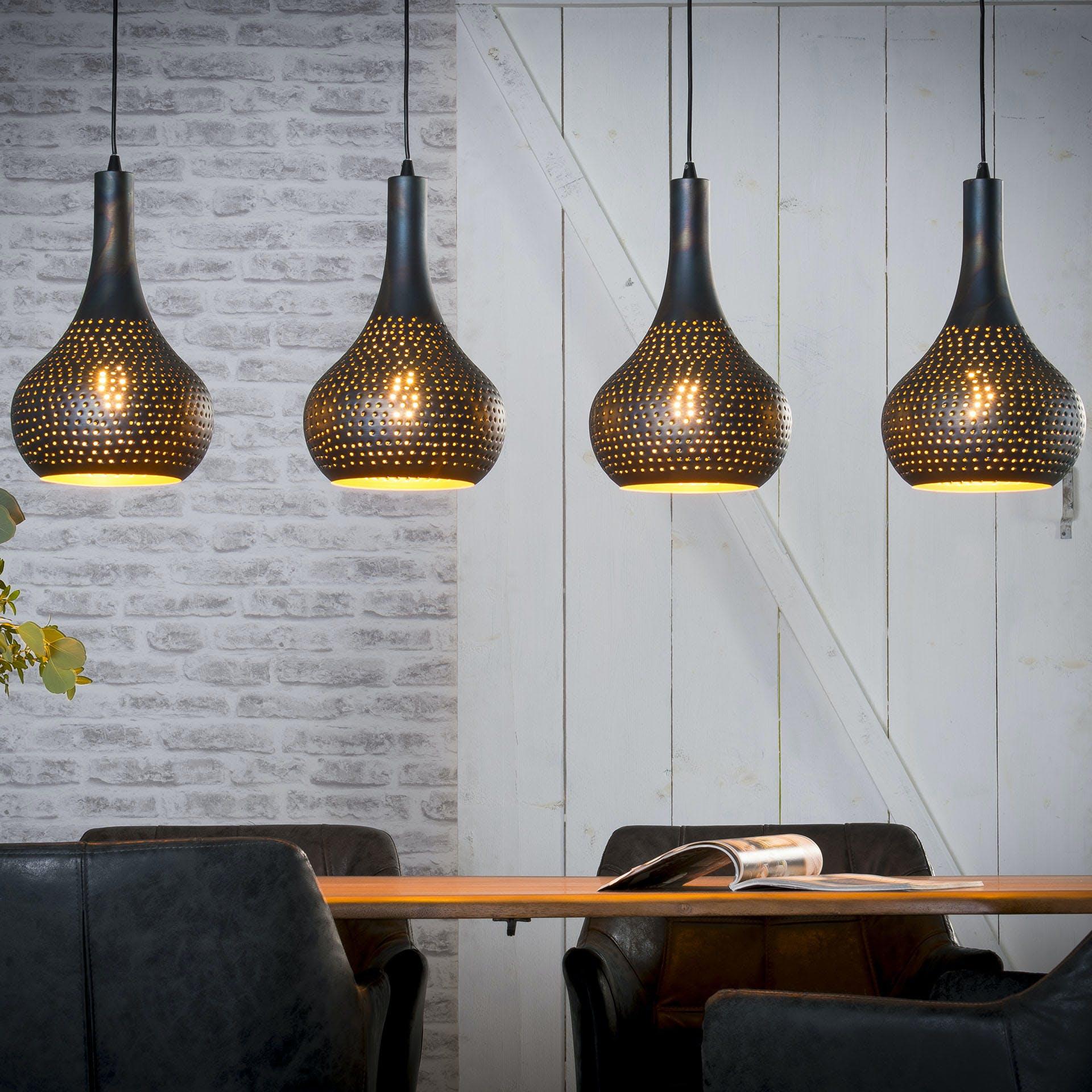 Suspension luminaire noir 4 lampes métal ajouré 130 cm JAVA