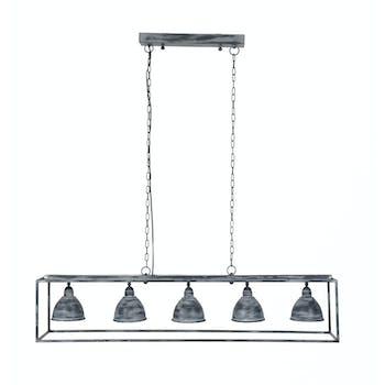 Suspension grise 5 lampes métal 125 cm RALF