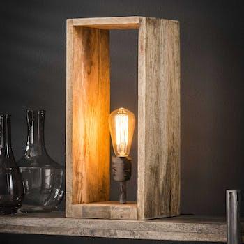 Cube lumineux bois de manguier H45 cm LUCKNOW
