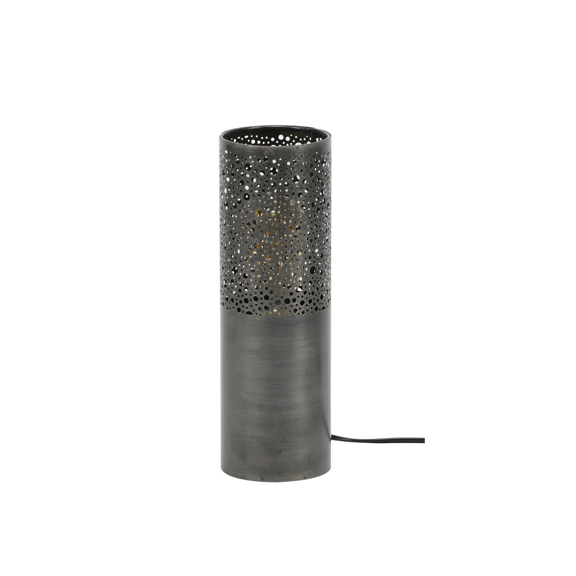Lampe marocaine cylindre métal vieilli H30 cm RALF