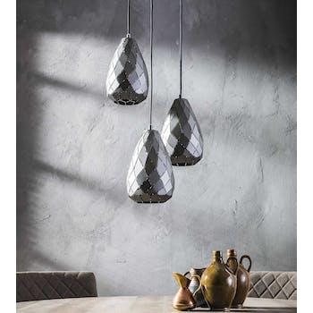 Luminaire suspension graphique 3 lampes ajourées 30 cm RALF