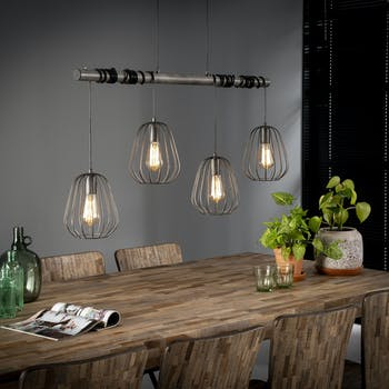 Suspension industrielle 4 lampes LAMPHUN