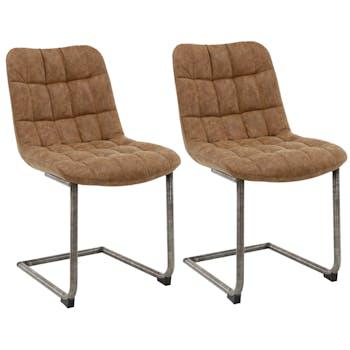 Chaise cuir marron recyclé JAVA (lot de 2)