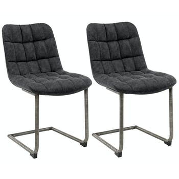 Chaise cuir gris foncé recyclé JAVA (lot de 2)