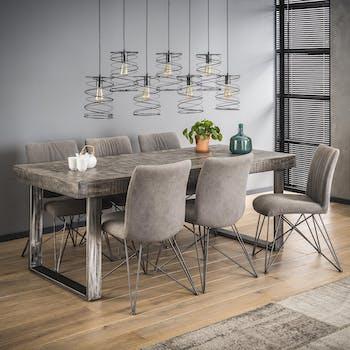 Table à manger bois massif gris 200 cm LUCKNOW