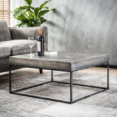 Table basse grise bois massif 80 cm LUCKNOW