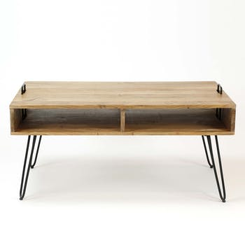 Table basse scandinave bois massif 100 cm MELBOURNE