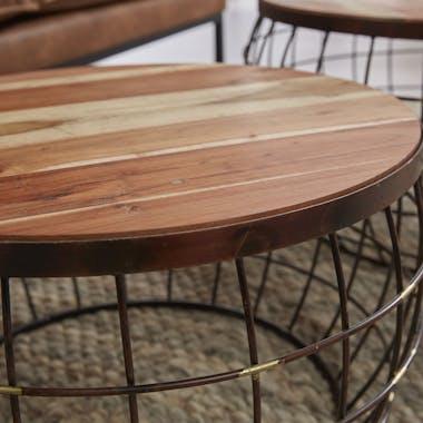 Table basse ronde bois massif métal RALF (lot de 2)