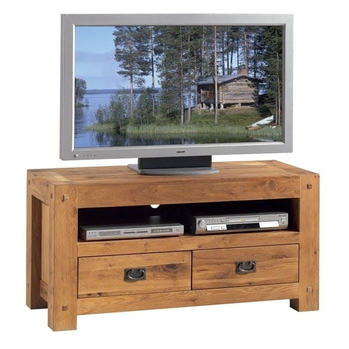 Meuble TV bois de chêne 2 tiroirs FJORD