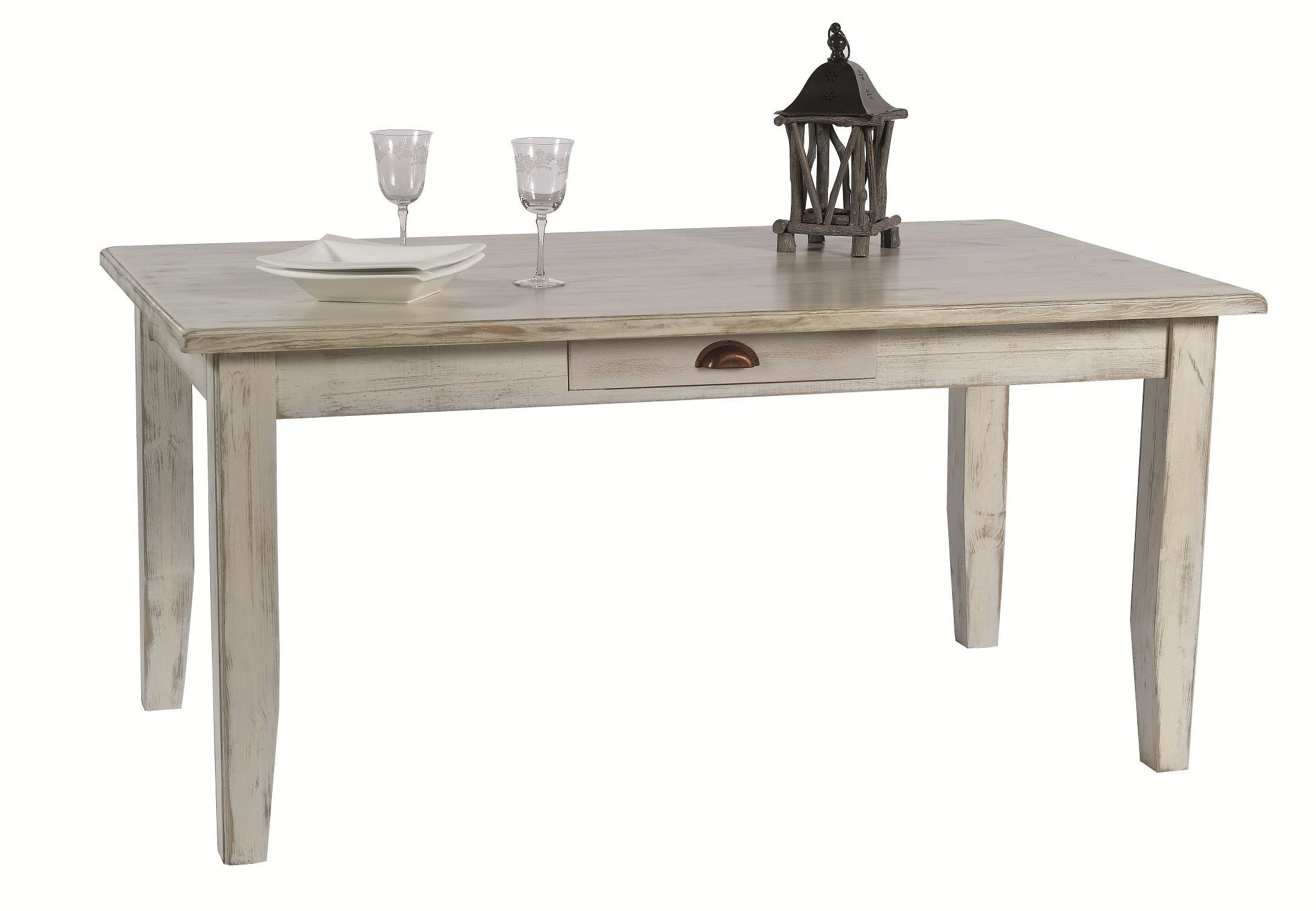 Table repas rectangle extensible pin blanc 160/260CM RIVAGE