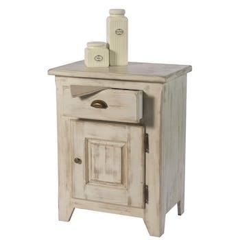 Confiturier pin blanchi 1 porte 1 tiroir 66x43x85cm RIVAGE
