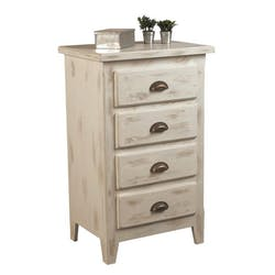 Commode pin blanchi 4 tiroirs 56x40x90cm RIVAGE