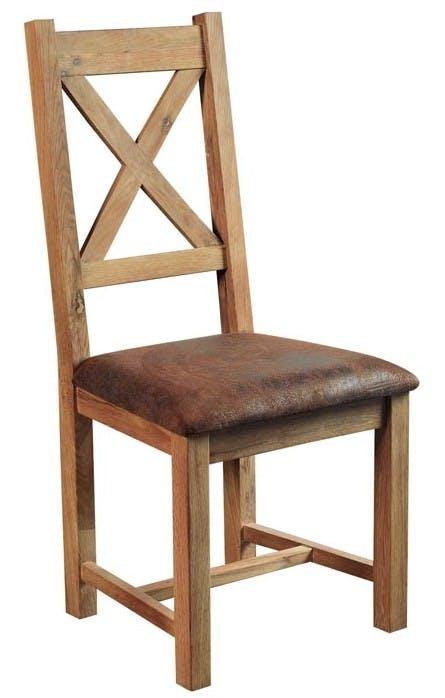 Chaise vintage marron havane rayures   Chaises   Pier Import