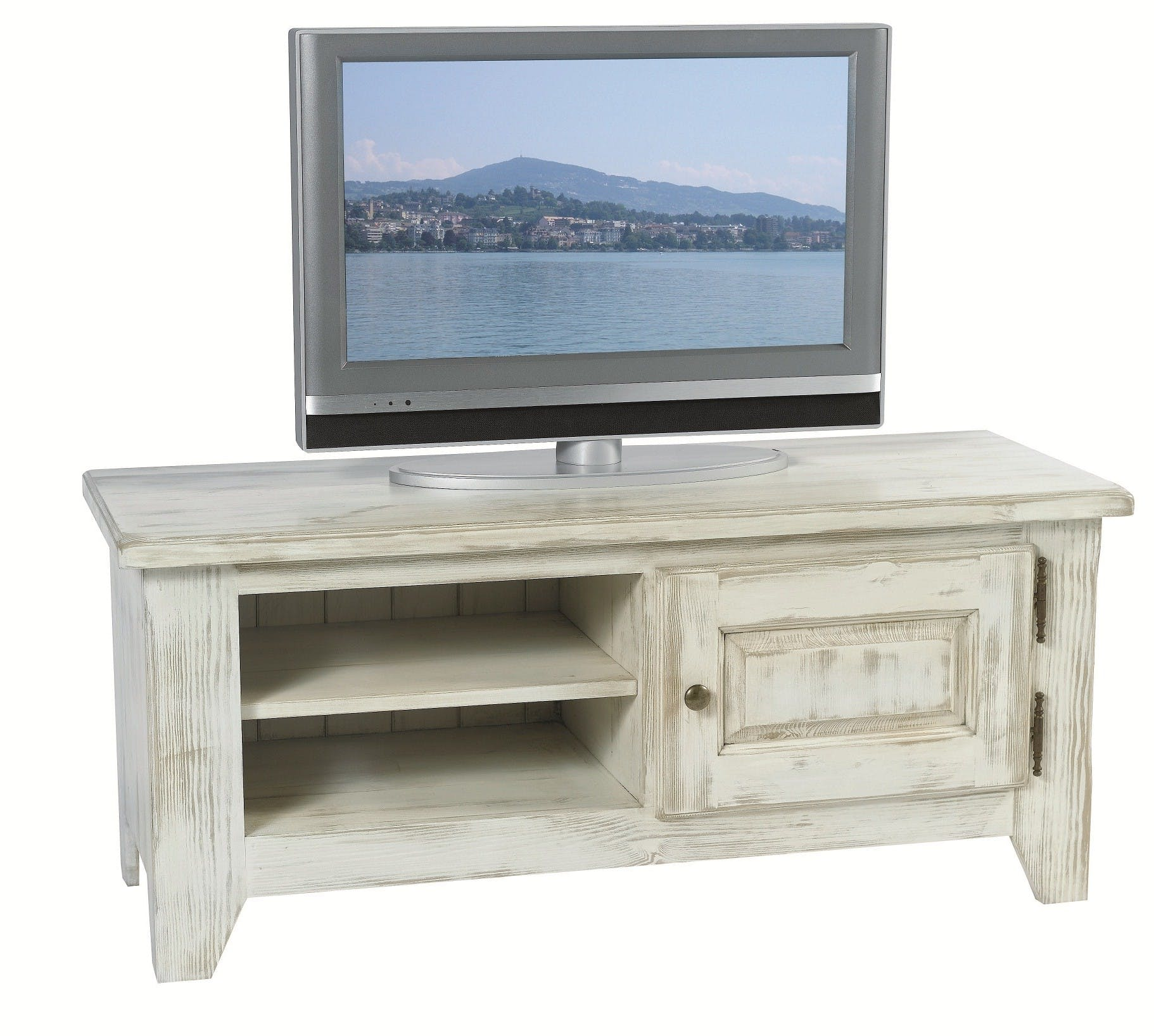 Meuble TV pin cérusé blanchi 1 porte 2 niches 116x43x50cm RIVAGE