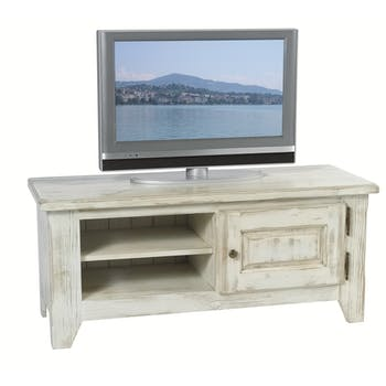 Meuble TV pin cérusé blanchi 1 porte 2 niches 116x43x50cm RIVAGE