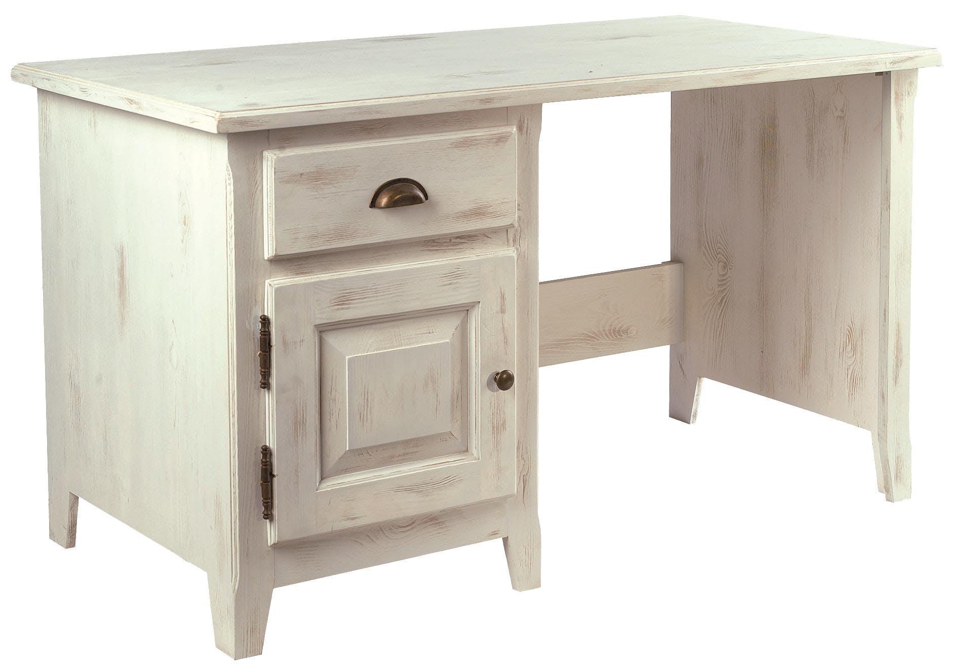 Bureau pin cérusé blanchi 1 porte 1 tiroir 130x66x76cm RIVAGE