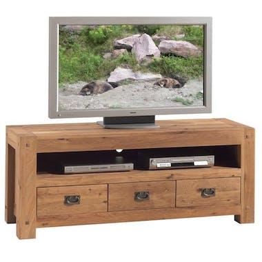 Meuble TV bois de chêne 3 tiroirs FJORD