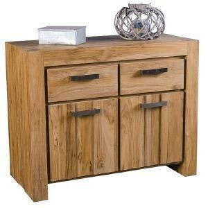 Buffet bois moderne 2 portes 2 tiroirs Teck 100cm RIO