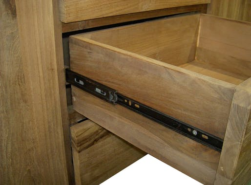 Buffet bois moderne 2 portes 3 tiroirs Teck 180cm RIO