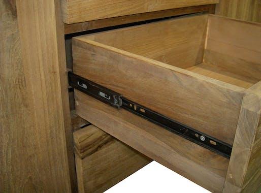 Buffet bois moderne 2 portes 4 tiroirs Teck 210cm RIO