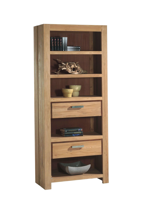 Etagère bibliothèque 5 niches 2 tiroirs Teck 85x200cm RIO