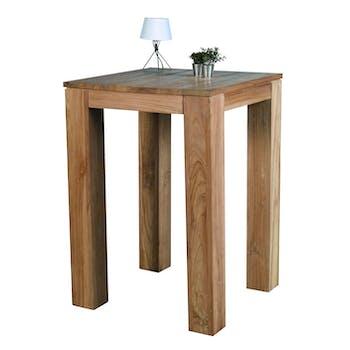 Table mange debout teck 70x70x100cm RIO
