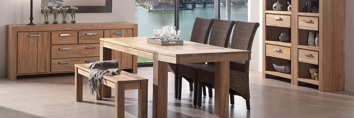 Allonge 40cm Teck pour table carrée repas 80cm RIO