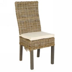 Chaise rotin blanchi avec coussin RIO